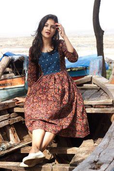 Kalamkari Mirror Yoke Frock Dress in 2020 Simple Kurti Designs, Kurta Designs Women, Frock Dress, Saree Dress, Shirt Dress, Frock Fashion, Fashion Dresses, Midi Dresses, Women's Fashion