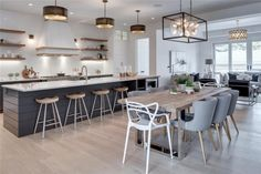 The Modern Farmhouse Kitchen of My Dreams - Styled to Sparkle Trickle Creek Homes Magnolia Modern Farmhouse Kitchen, Butcher Block Counters, Marble Countertop, W Kitchen Decor, Kitchen Style, Home Kitchens, Modern Farmhouse Kitchens, Kitchen Design, Kitchen Island With Seating, Kitchen Remodel, Kitchen Renovation, Replacing Kitchen Countertops