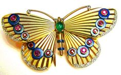 Lapis, Ruby, Diamond, Emerald Butterfly Brooch