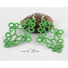 Green lace earrings, tatting lace handcrafted with beading, lace... ($12) ❤ liked on Polyvore featuring jewelry, earrings, beading jewelry, handcrafted jewelry, colorful earrings, handcrafted earrings and handcrafted beaded jewelry