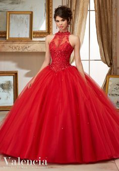Morilee Valencia Quinceanera Dress 60004 EMBROIDERY AND BEADING ON TULLE BALL GOWN Matching Stole. Colors Available: Scarlet, Capri, Fairytale Pink, White Color of this dress: Scarlet