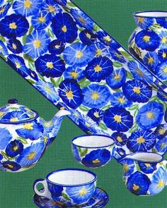 ✿ڿڰۣ(̆̃̃•Aussiegirl. Blue Poppies by Australian Fine China