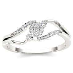 De Couer 10k White Gold 1/8ct TDW Diamond Ring (H-I, I2) (Size 8.5), Women's