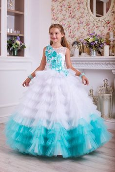 Light blue and Blue, White and Turquoise flower girl dress Turquoise Flower Girl Dress, White Flower Girl Dresses, Flower Girls, Girls Pageant Dresses, Dresses Kids Girl, Baby Frocks Designs, Kids Gown, Princess Dress Kids, Birthday Dresses