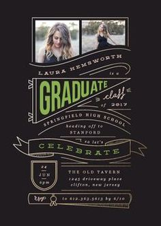 this typographic multi-photo high school graduation announcement doubles as a party invite for the new graduate whilst incorporating elements associated with school and graduation