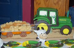 Homemade John Deere Tractor Cake: This John Deere Tractor Cake was my grandson Mason's 2nd birthday cake. I used the John Deere tractor pinata as my pattern and made the cake the same size