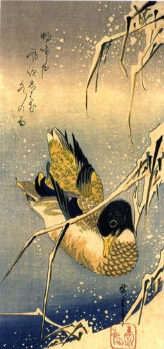 Utagawa Hiroshige (1797 – 1858)  Roseto sotto la neve e anatra selvatica (Rose in the snow and wild duck)