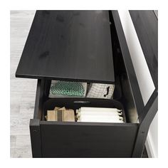SÄLLSKAP Storage bench with backrest, black