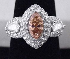 Champagne Diamond Ring 2.5CT TW Marquise & Rounds in Solid 14K White Gold, NEW!