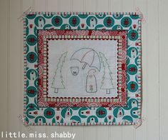 Look at the adorable mini quilt and embroidery pattern from @littlemissshabby that features my Brrr! fabric.