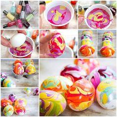 20+ Creative Uses of Nail Polish That You Need to Try --> DIY Nail Polish Marbled Eggs