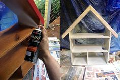 How to paint a doll house. Scandi summer house-style doll house makeover. Photos by Lisa Tilse for We Are Scout.