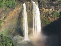 Beautiful waterfalls in Hawaii we saw during our helicopter ride near the area Jurassic Park was filmed!