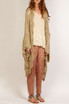 MES DEMOISELLES...PARIS SS 2014 Cardigan Gilet Jean Lud lurex doré goldy Kimono doily crochet hook.