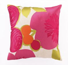 Multi-Floral Embroidered Linen Pillow in Pink NEW