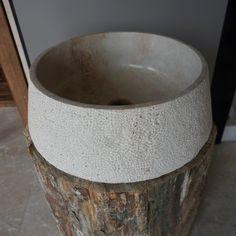 Sahra Classic Travertine Sink (DLT755) #naturalstone #sink #travertinesink #bathroomdesign
