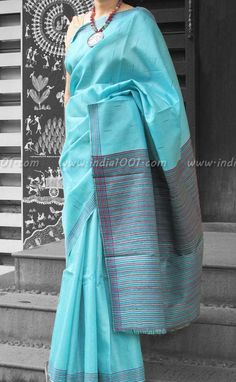 Stunning Woven Tussar Silk Saree   India1001.com Indian Attire, Indian Ethnic Wear, Indian Outfits, Ethnic Fashion, Indian Fashion, Ankara Fashion, Fashion Wear, Tussar Silk Saree, Cotton Saree