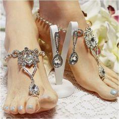 847bd2f57c9e39 BRILLIANT rhinestone barefoot sandals and earrings set - ooak