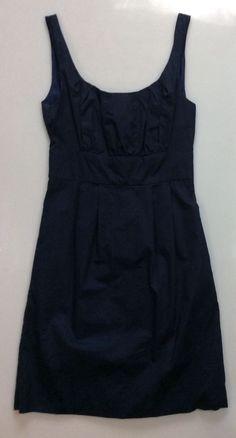 Womens Midnight Blue J. CREW Dress 97372 / 100% Cotton Lined Sleeveless Size 0 #JCREW #SleevlesEmpireWaist #LittleBlackDress