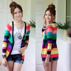 New Women lady Girl  Korean Fashion Colorful stripes deep V-neck knit cardigan Sweater Multicolor and  Causual Wear