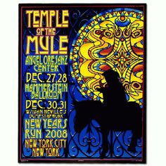 Original concert poster for Gov't Mule at Angel Oresanz Center and The Hammerstein Ballroom in New York City, NY in 2008 for a New Years run. 16 x 20 inches  7 color screen print.  Signed by the artist Richard Biffle.