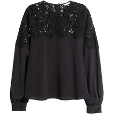 H&M Blouse with a lace yoke (875 UAH) ❤ liked on Polyvore featuring tops, blouses, black, lace yoke top, black lace blouse, h&m blouse, button blouse and black lace top