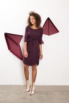 IMRECZEOVA SS18 purple dress with zig-zag neck and hem One Shoulder, Shoulder Dress, 60 Degrees, Purple Dress, Zig Zag, Dresses, Fashion, Vestidos, Moda