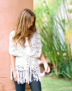 CROCHET SUMMER CARDIGAN | Crochet For Beginners. This would be cute in a super fine yarn.