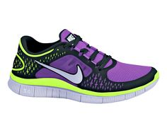 Purple and Neon Yellow Nike Running Shoes for Women