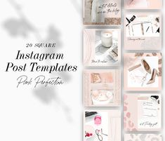 Instagram Post Templates for bloggers and influencers | Pink Instagram Templates | Template Frames
