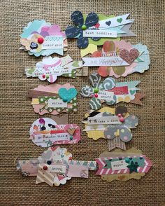 """49 Likes, 1 Comments - Terry (@thansen78) on Instagram: """"Lot 1: 10 handmade embellishments $15 shipped. Message me if interested. #handmade…"""" Baby Scrapbook, Scrapbook Paper Crafts, Scrapbook Albums, Scrapbook Cards, Scrapbooking Layouts, Scrapbook Journal, Handmade Tags, Candy Cards, Scrapbook Embellishments"""