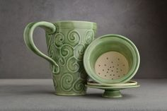 Lidded Tea Mug: Celadon Stoneware Tea Mug with Lid and Infuser by Symmetrical Pottery on Etsy, Sold