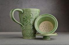 Lidded Tea Mug Celadon Stoneware Tea Mug by symmetricalpottery