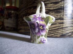 VINTAGE MINIATURE PORCELAIN Basket Purple by ShopOfCraftsByMyrna, $8.00