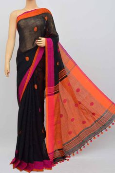 915b66f7198 Black Color Handwoven Textured Traditional Saree(With Blouse) SM250467  Blouse Online