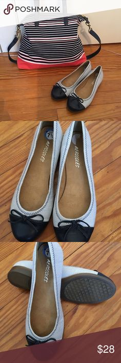 Navy Striped Flats Navy striped fabric Aerosoles with solid navy leather toe cap and bow trim. Non- slip soles. (Talbots bag available in a separate listing.) AEROSOLES Shoes Flats & Loafers