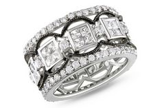 3 4/5 CARAT CUBIC ZIRCONIA STERLING SILVER RING W/BLACK RHODIUM