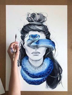 : Blue Snake Blindfolded Girl Art Print Fashion Woman Etsy - High Quality Watercolor Art Print Made On Archival Matte Paper By Using Thick Cotton Fine Art Paper With A Smooth Texture And Unique Slight Grain Weve Managed To Achieve Prints Reminiscent Of Th Snake Art, Arte Sketchbook, Painting & Drawing, Snake Painting, Drawing Artist, Encaustic Painting, Painting Of Girl, Pour Painting, Painting Process