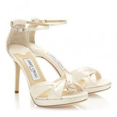 cd596f1f33d Hollywood Glamour Jimmy Choo Marion Ivory Satin Knot detailing ankle strap  Platform Sandals 2014 New Arrival