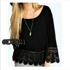 Black Boho Top Black boho top with lace. Made of a soft cotton with stretch. Size medium. Tops