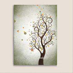 Watercolor Art Autumn Tree Print Modern Wall by NaturesHeavenlyArt, $9.00