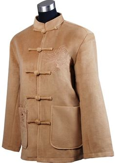 Periwing Man's Camel Cashmere Phenix Embroidery Chinese Jacket