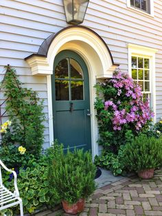 My Garden Diaries: Camp Rosemary Front Door Paint Colors, Painted Front Doors, Front Door Design, Front Door Decor, Door Entryway, Entrance Doors, Exterior Doors, Interior And Exterior, Porch Mat