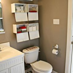 My family of five shares one small bathroom, so when I decided to redo our boring bathroom I knew it had to be functional as well as beautiful. Small Bathroom, Toilet, Home Improvement, Organization, Cabinet, Storage, Furniture, Organize, Design