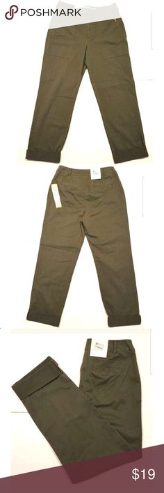 a new day Women's Stretch Straight Pant a new day Women's New with Tags Stretch Straight Legged Olive Cropped Pant Size 10. Classic fit 36X30. Perfect with a jean jacket and ballet flats. Smoke free home. Please see item measurements below to ensure fit.   Waist laying flat -16 in.  Rise laying flat - 11 in.  Inseam laying flat - 27 in. a new day Pants Ankle & Cropped