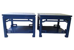 EAST MEETS WEST Cobalt Lacquered Ming-Style Tables, Pair