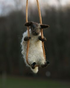 needle felted sheep necklace  so cute ! @Lisa Bondurant