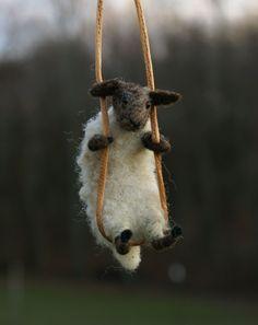 needle felted sheep necklace  so cute ! @Lisa Bondurant