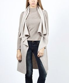 Another great find on #zulily! Stone Ribbed Drape Open Vest #zulilyfinds