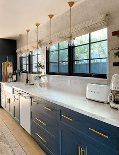 blue galley kitchen ideas: Semihandmade Supermatte Night Sky Shaker drawers and doors